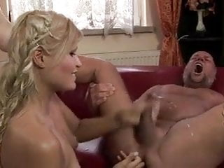 Girl fingering and milking daddy.