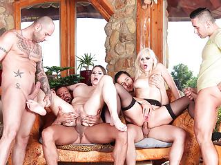 SLAM US - Hot gang bang with two busty MILFs