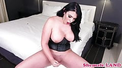 Hugetits tranny bends over before wanking