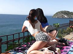 Two beautiful lesbian daughter caress each other.