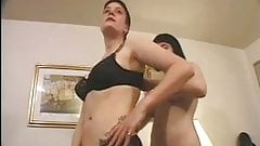 Lesbian And Her Hairy Girlfriend Talked Into Cock