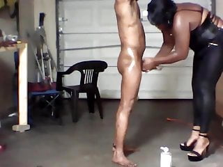 cock gets RUFF ebony domina