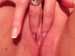 Opening up pussy lips hardening clit dripping pussy juice