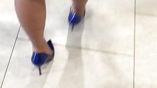 OL in tight blue dress 2