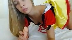 Snow white dressed teen plays with dildo on cam