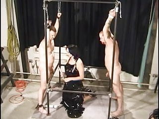 Hot randy Domination babes give head to bound slaves