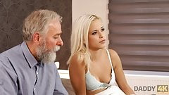 DADDY4K. Blonde-haired dollface Ria Sun tries old dick of BF