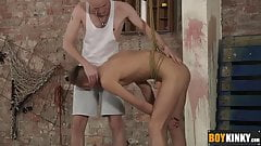 Bound twink johannes lars gets a rough anal stuffing
