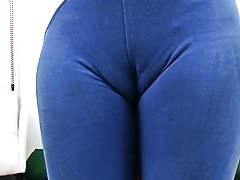 Amazing Cameltoe and Round Ass in Lycra Spandex Bodysuit