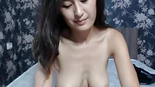 Japanese - big boobs  plays with pussy