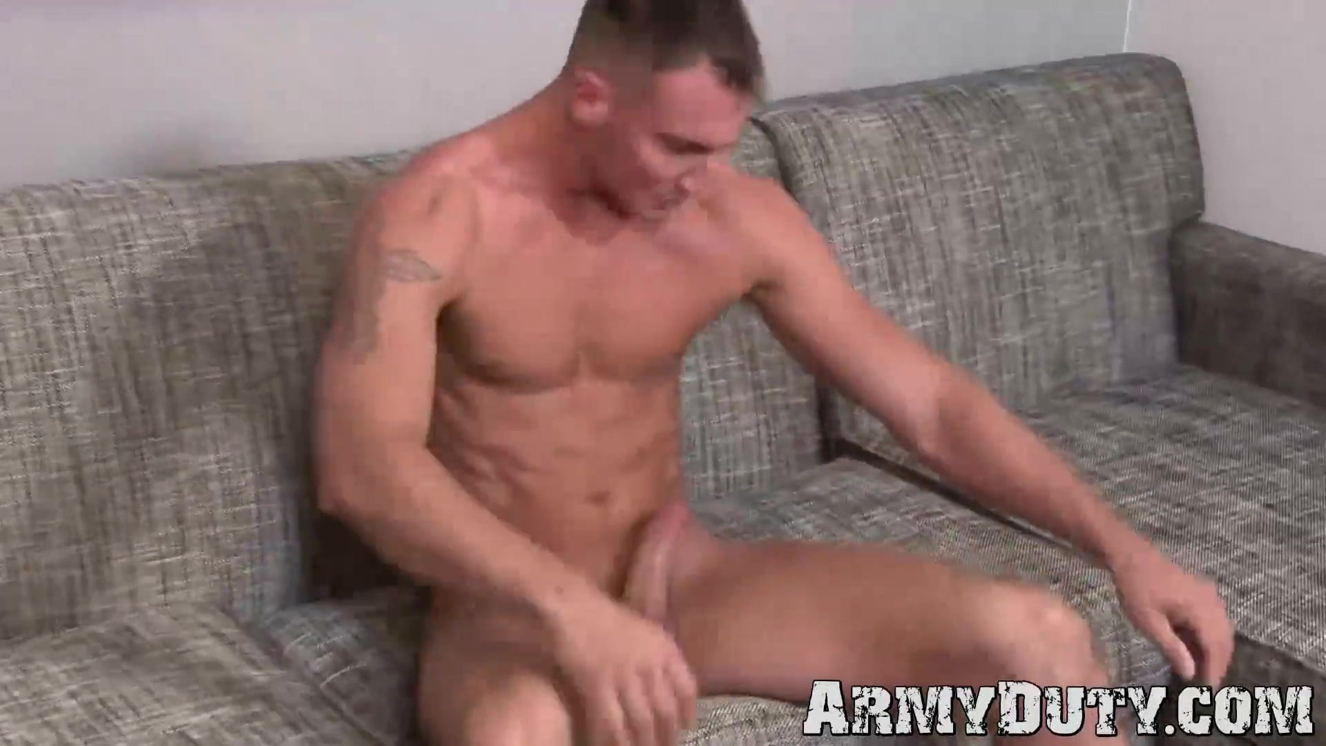 Athletic soldier with abs Craig Cameron solo masturbates