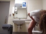 Pool bathroom, on the toilet, hidden cam