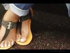 Candid ebony feet black sandals