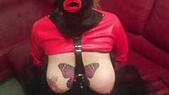 kinky slave takes dildo down throat