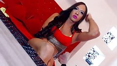 Hot shemale plays with her cock and ass