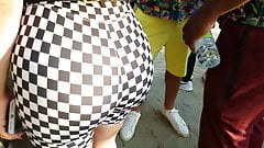 Candid Phat ass on Latina in checkered leggingss!!