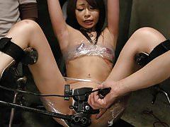 Gorgeous Asian gets gangbanged while restrained slut watches