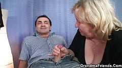 Fat granny sharing two cocks