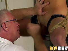 Rough handjob and bondage with cute twink and kinky daddy