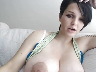 Huge tits masterbate - Girl with short hair and huge tits plays with pussy