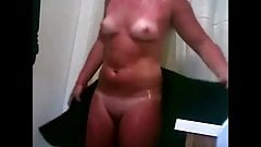 Blonde wife in fast shower