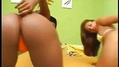 2 Hot Bikini Babes Share a hard cock in Asses