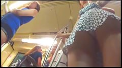 Upskirt Teen White Thong Frontal on Metro