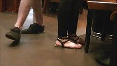 Brunette teen candid feet at Starbucks