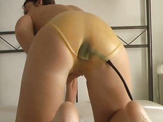 Buttplug under Latex Panties Masturbation