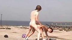 Nude Beach - Teen pussy with CIM Facial - self filmed