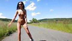 kinky public nude flashing rollergirl 2