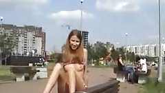Russian girl exposed public for cash