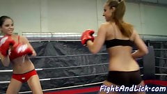 Lesbian eurobabes tribbing after wrestling