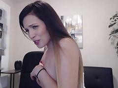 Hottie Brunette Pound Her Camel Toe After Sucking Her Toy