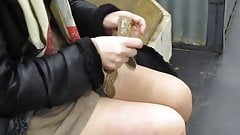 Chick put on stockings in metro statoin