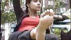 Girl shows feet
