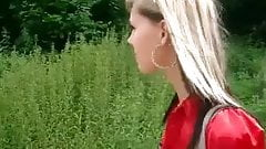 blonde chick sucks in the park