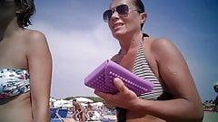 Big tits milf at beach