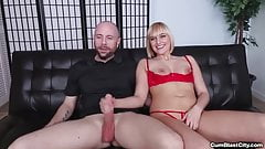 Blonde chick gets splattered with cum