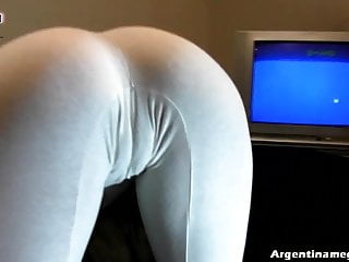 Deep Puffy Cameltoe Teen And In Ultra Tight White Leggins