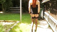 Sissy Steffi Pissing in garden