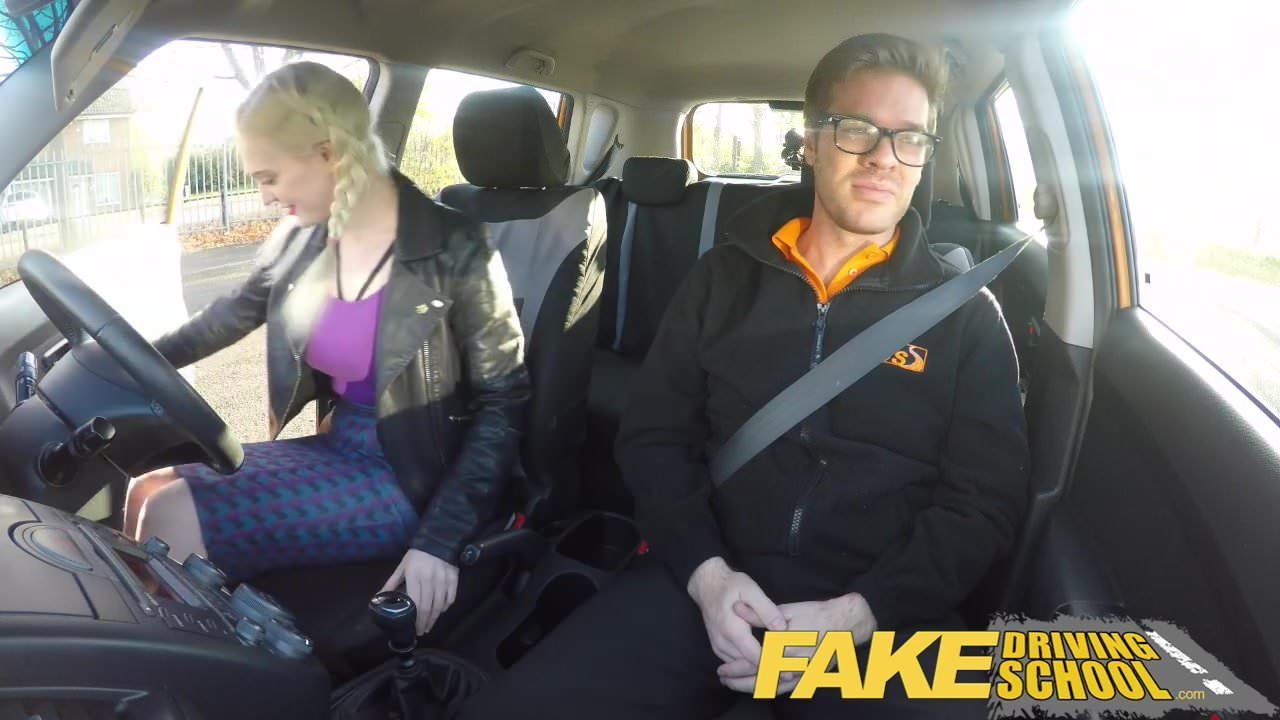 Fake Driving School Pigtailed Cutie Gets A Face Full