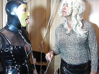 Tv Domina Bernadette commands her sissy slut to suck a guest