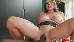 Busty Euro MILF fucked anal at interracial massage