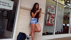 Candid voyeur incredible teen in shorts waiting so hot