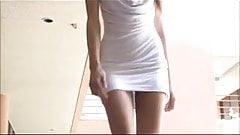 No Panty White Dress Out Side