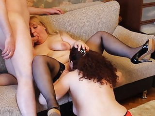 Threesome Two Russian MILF one British Stud suck and Lick