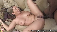 Busty daughter fucks BBC in front of father
