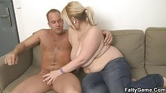 Chubby blonde takes it hard from behind