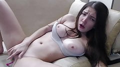 Teen brunette masturbates with vibrator in her ass